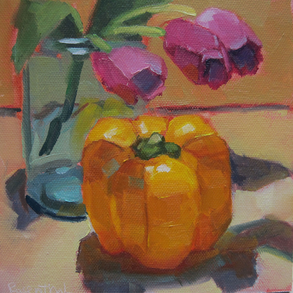 """Yellow Pepper & Purple Tulips"" original fine art by Robin Rosenthal"