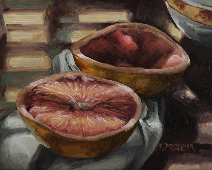 """""""Grapefruit in the Shadows"""" original fine art by Sue Deutscher"""