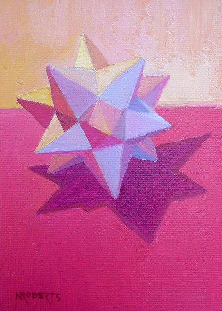 """White Star on Magenta"" original fine art by Nancy Roberts"