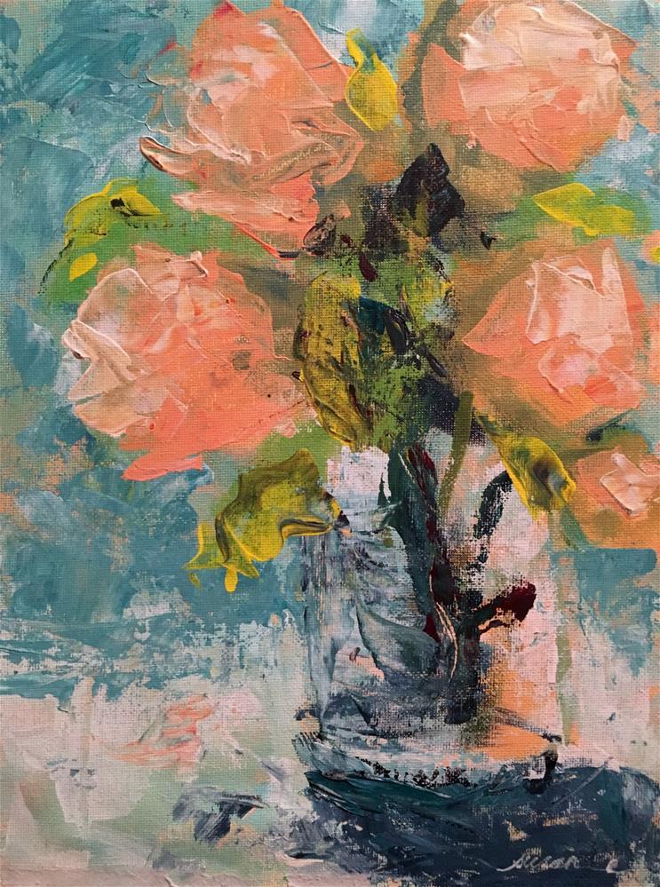 """Peach Peonies"" original fine art by Susan Elizabeth Jones"