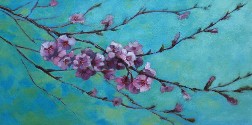 """Peach blossom"" original fine art by Olga Touboltseva-Lefort"