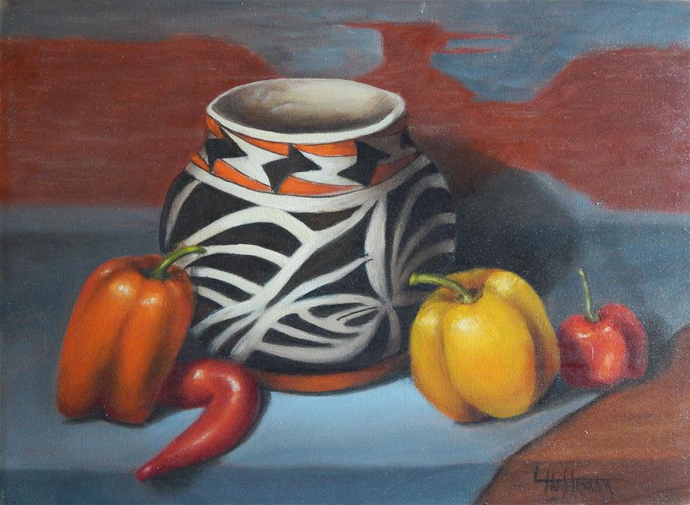 """Pottery and Peppers"" original fine art by Lina Ferrara"