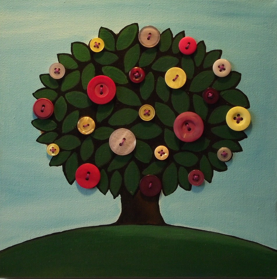 """button tree #2"" original fine art by Jane Palmer"