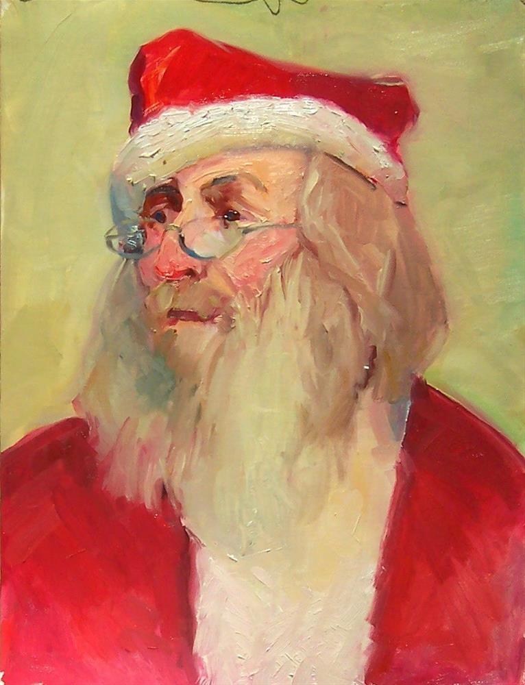 """Santa,portrait,oil on canvas,17x14,price$100"" original fine art by Joy Olney"