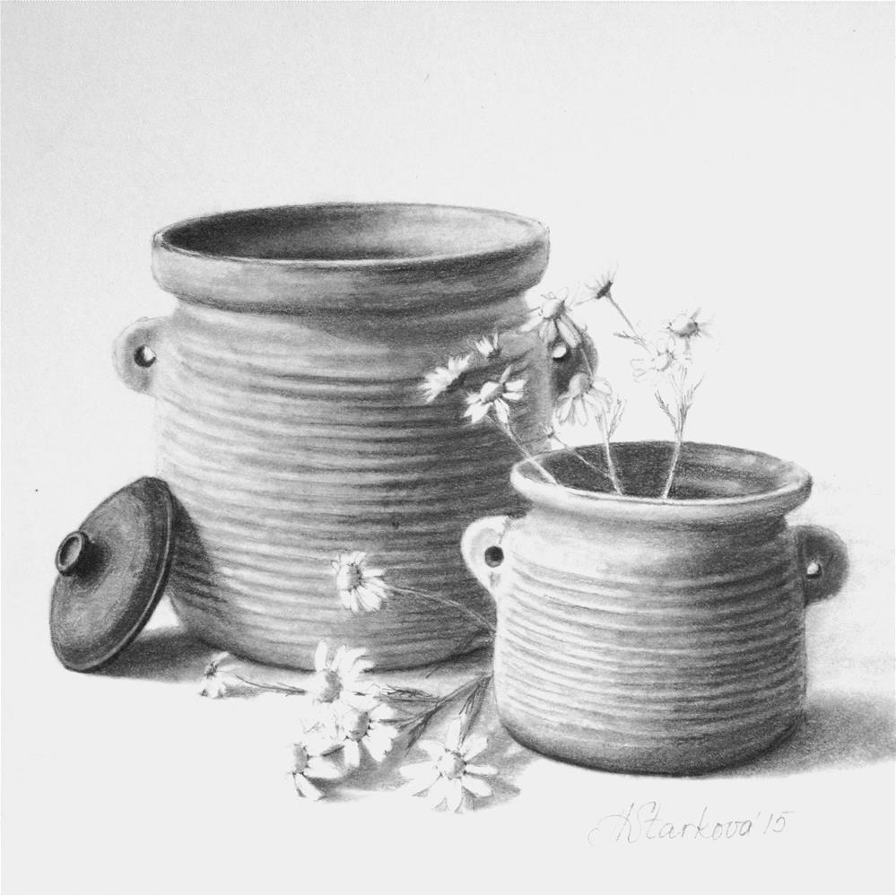 """Pots of luck"" original fine art by Anna Starkova"