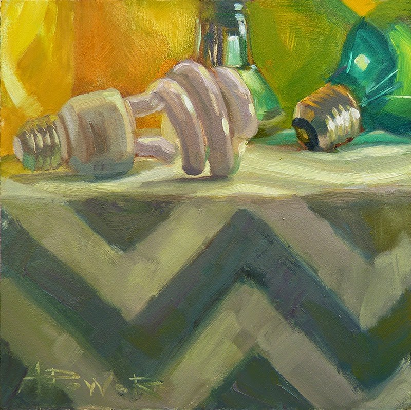 """9.6.14 - Bulbs On a Ledge -"" original fine art by Anette Power"