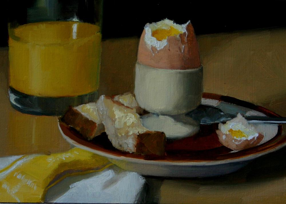"""Boiled Egg and Soldiers"" original fine art by Liz Balkwill"