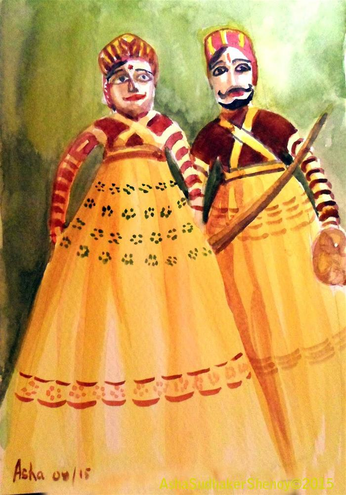 """""""Puppets of Rajasthan-2"""" original fine art by Asha Shenoy S"""