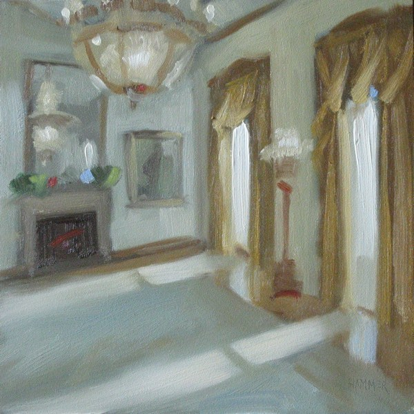 """White House room  6x6  oil"" original fine art by Claudia Hammer"