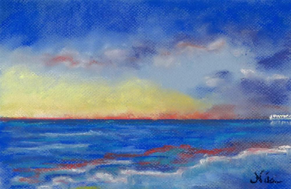 """Carlsbad Sunset North"" original fine art by Niki Hilsabeck"