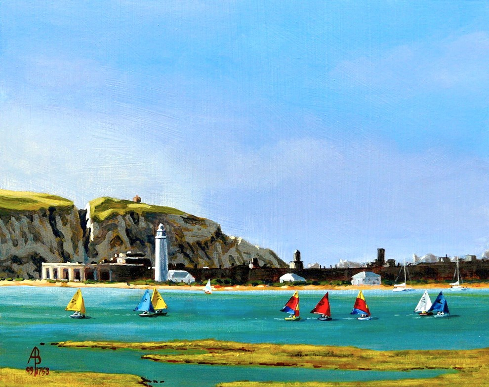 """Optimists off Hurst Castle, The Solent, England"" original fine art by Alix Baker PCAFAS AUA"