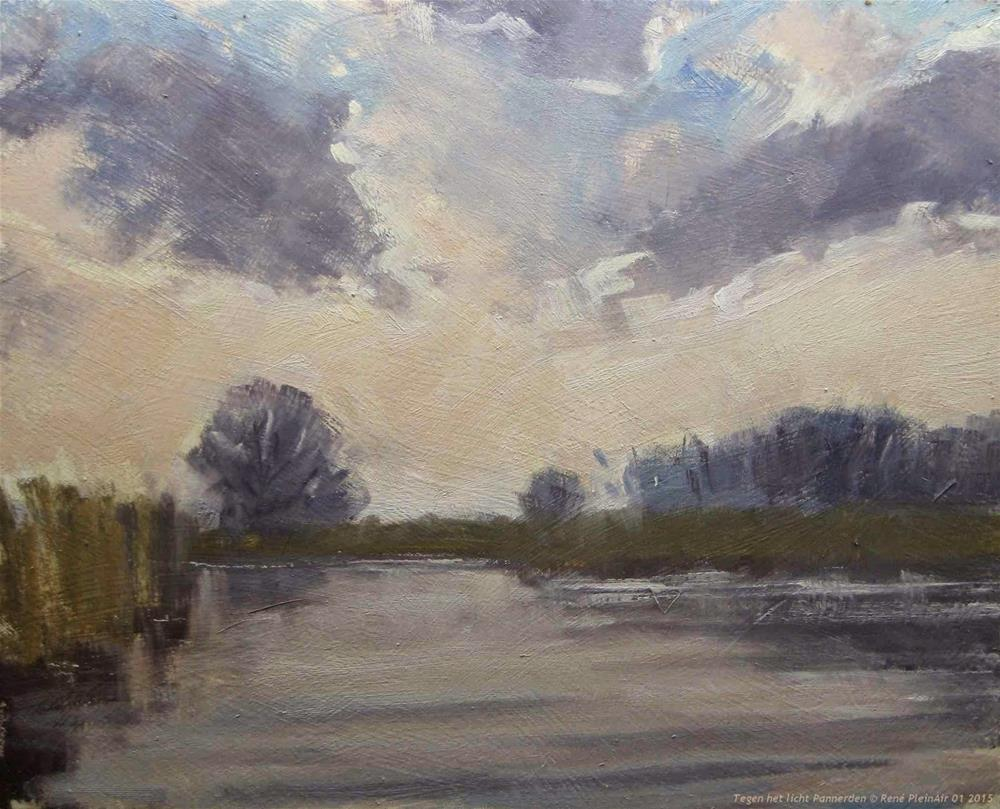 """Against the light Pannerden The Netherlands"" original fine art by René PleinAir"