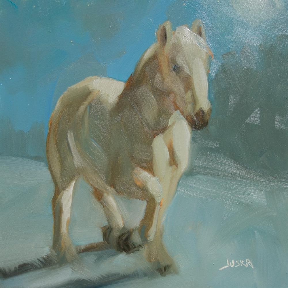 """Study of White Horse in Snow 2"" original fine art by Elaine Juska Joseph"