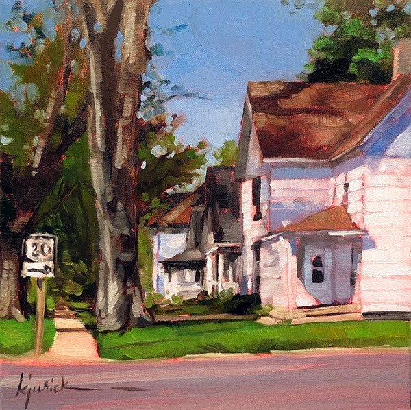 """Lincoln Highway/Old Houses,Logan,Iowa"" original fine art by Karin Jurick"