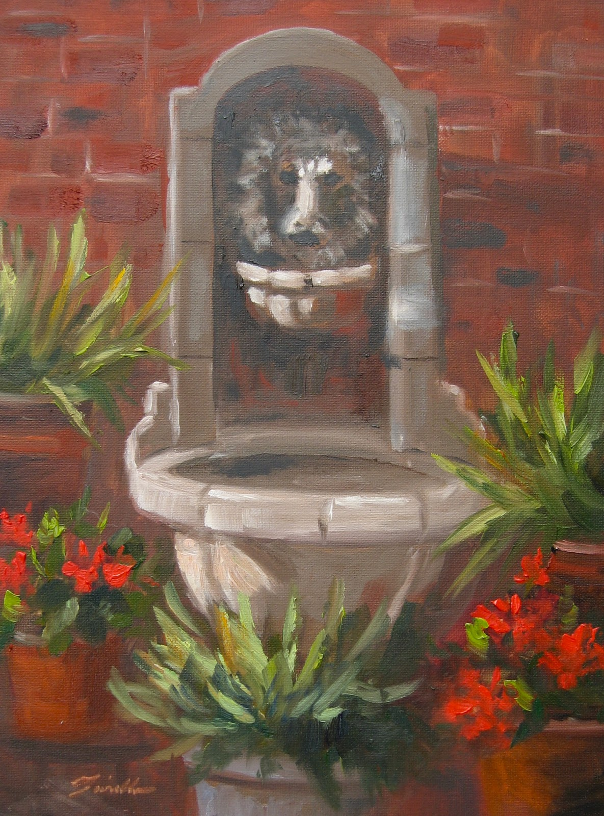 """Terry's Fountain"" original fine art by Pat Fiorello"
