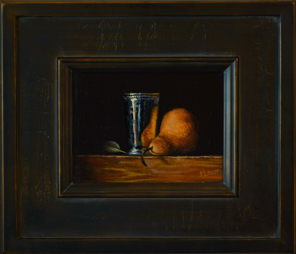 """Silver Cup with Pear and Leaf"" original fine art by Garry Kravit"