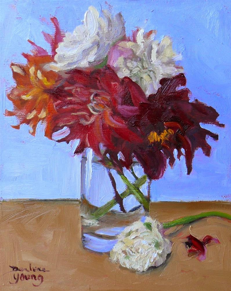 """772 Dahlias in a Glass"" original fine art by Darlene Young"