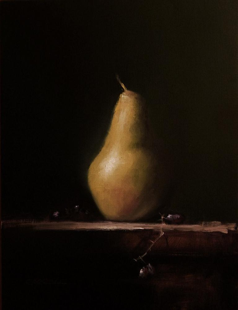 """Pear with Grapes"" original fine art by Neil Carroll"