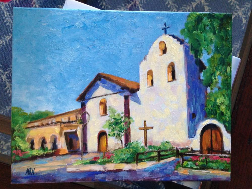 """SANTA YNEZ MISSION"" original fine art by Nina K. Nuanes"
