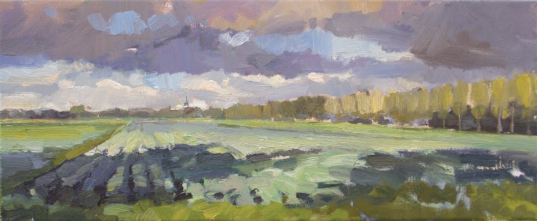 """Hollands landschap #6 Fields light and shadow"" original fine art by Roos Schuring"