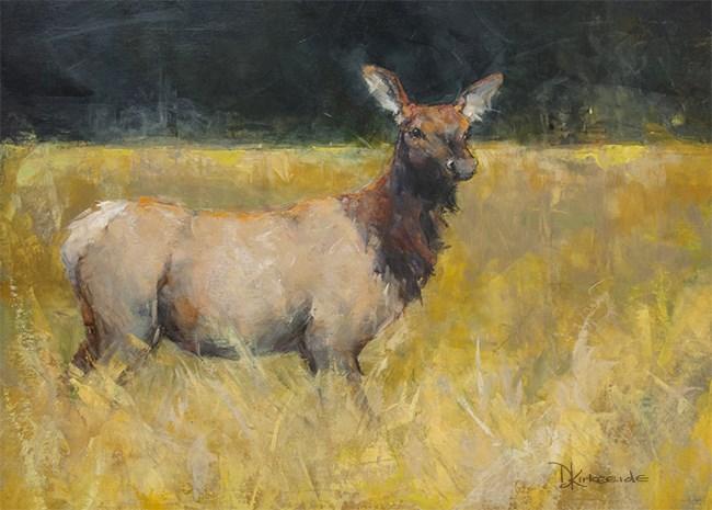 """""""Field of Gold - Wildlife Elk painting"""" original fine art by Deb Kirkeeide"""