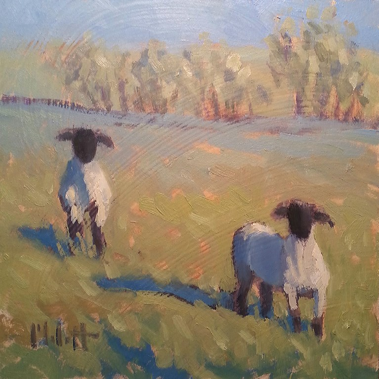 """Sheep Oil Painting Farm Animals Art"" original fine art by Heidi Malott"