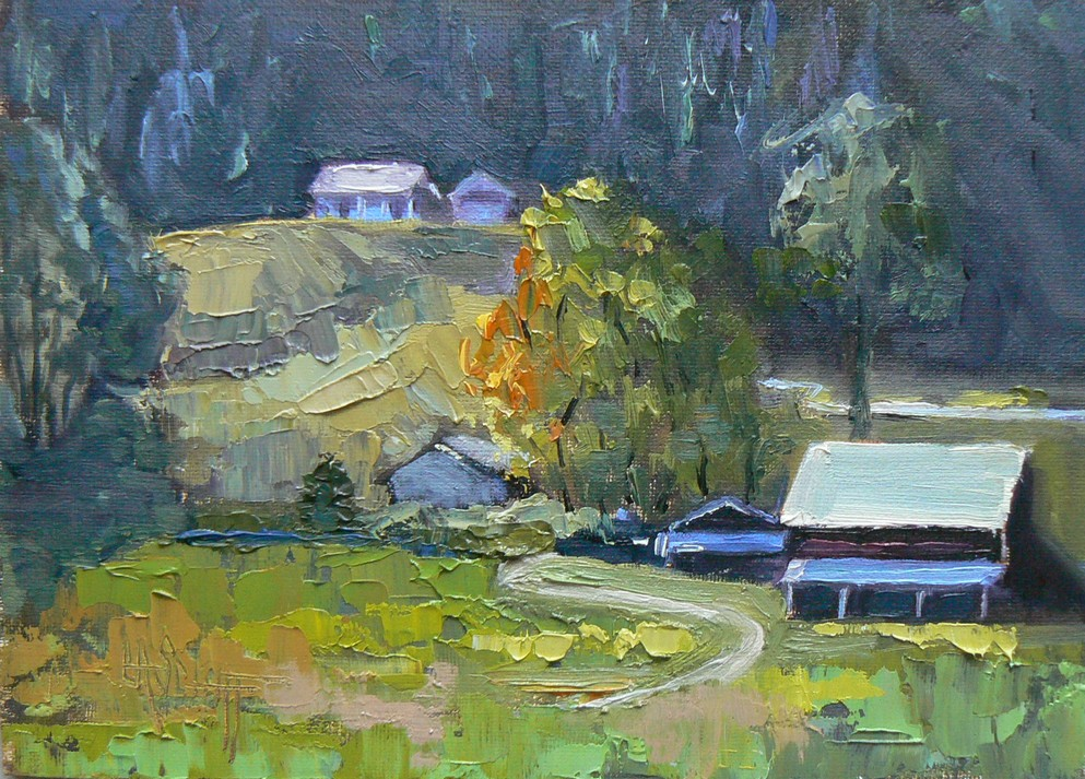 """UP CHILDERS' BARN ROAD, 5X7, SOLD"" original fine art by Carol Schiff"