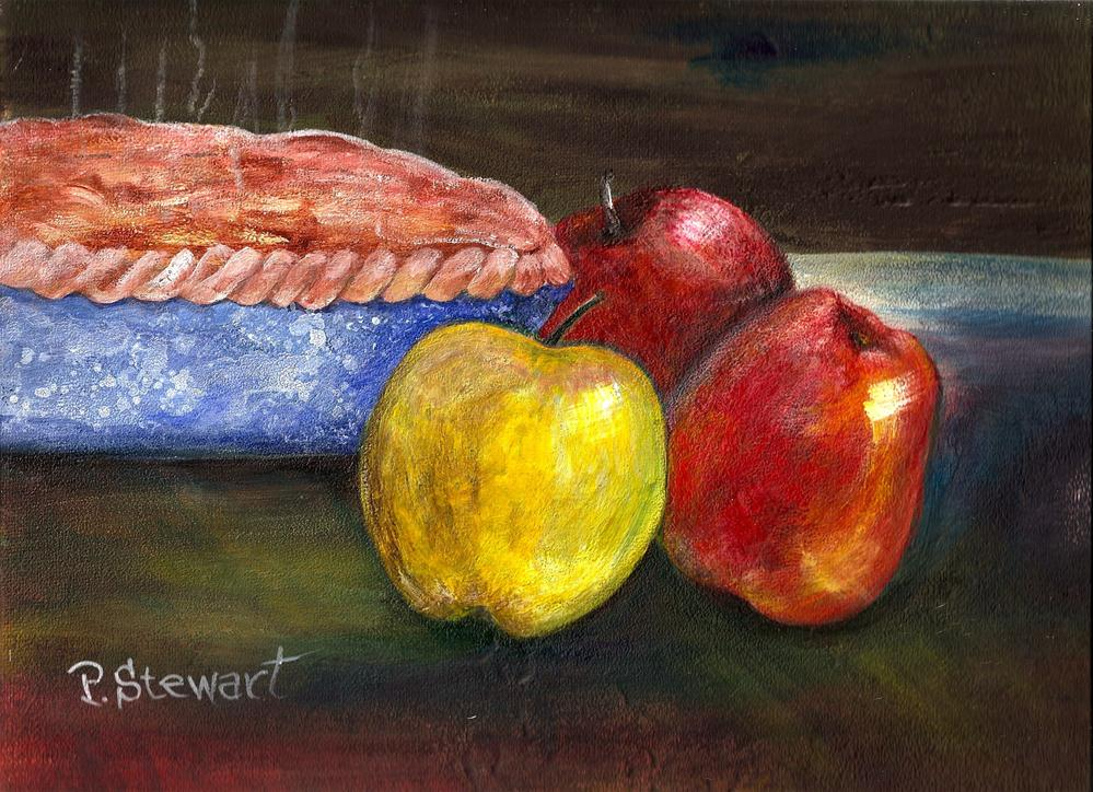 """9x12 Apples and Pie, Still Life, Acrylic on Canvas Board, Original, not a print"" original fine art by Penny Lee StewArt"