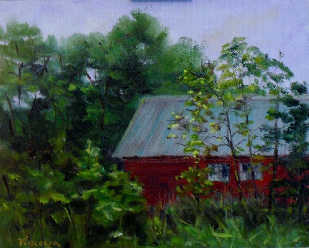 Nestled Barn~ 8x10~ oil on panel original fine art by Vincenza Harrity