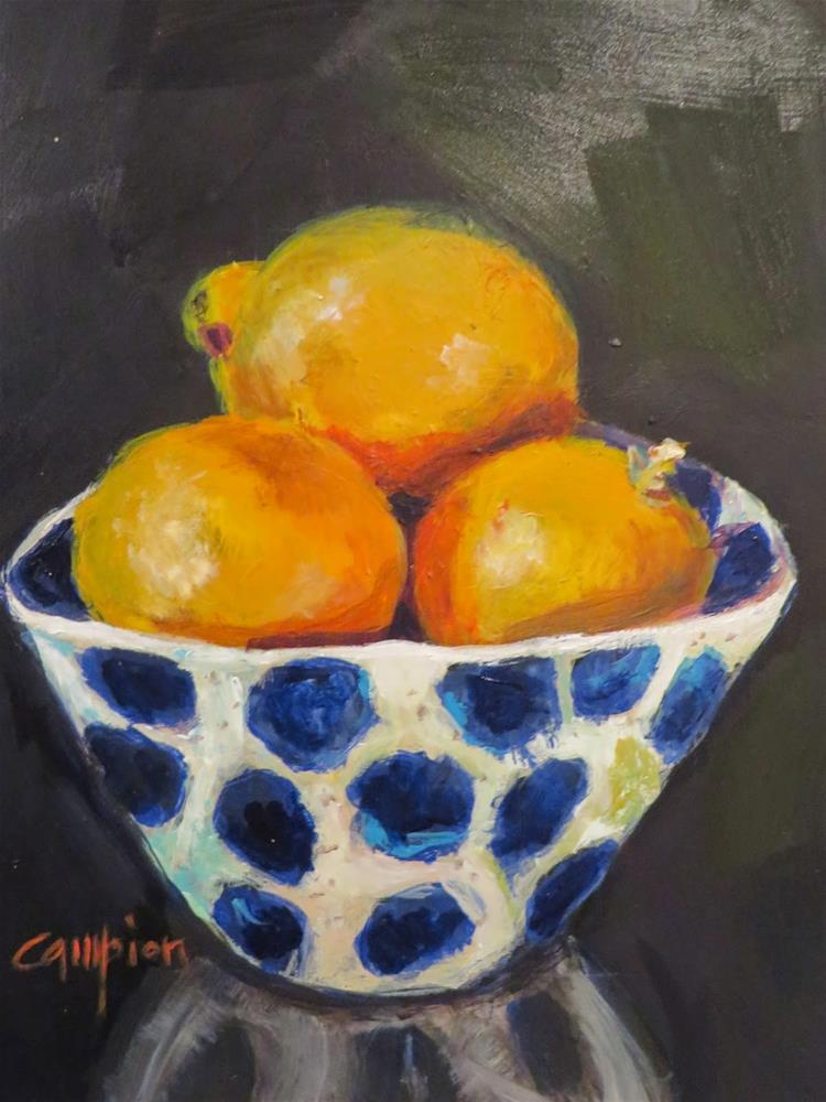 """538 Meyer Lemons in a Portugese Bowl"" original fine art by Diane Campion"
