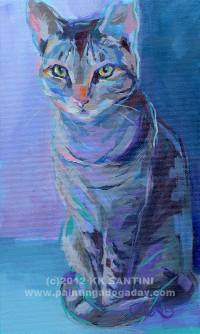 """Evil Eye (Bad Kitty #!)"" original fine art by Kimberly Santini"