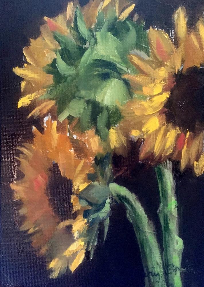 """""""Sunflower Trio"""" original fine art by Gary Bruton"""