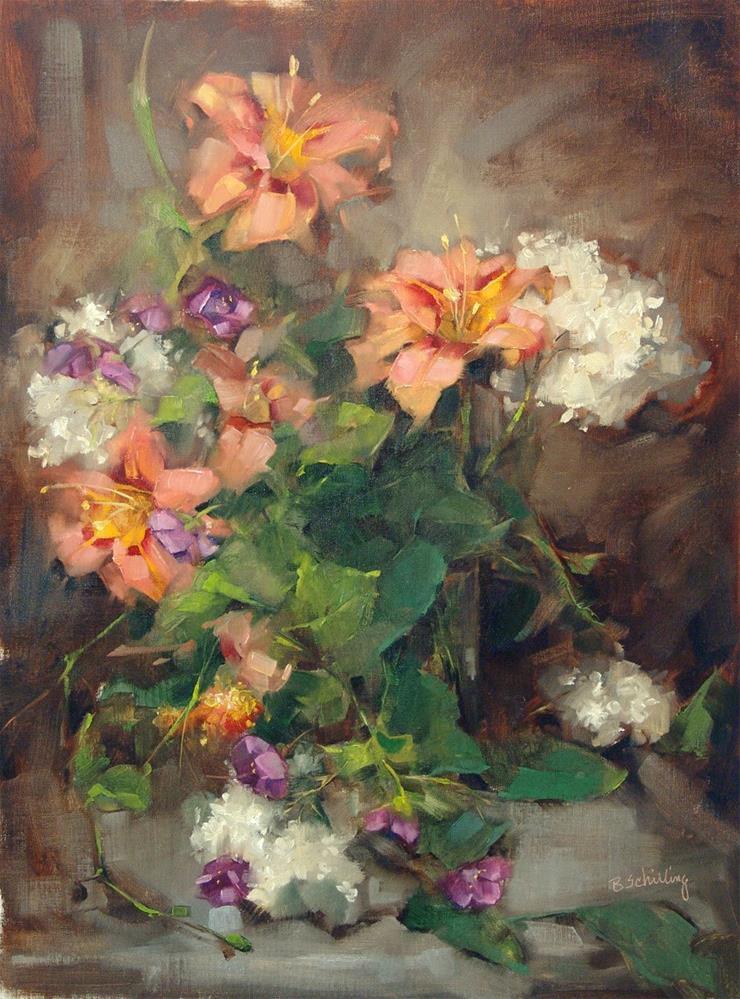 """Apricot Daylilies"" original fine art by Barbara Schilling"