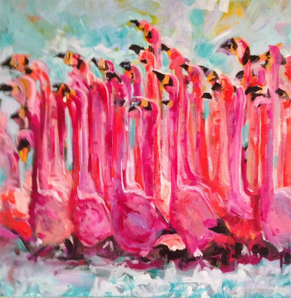 """""""Gaggle of Flamingoes"""" original fine art by Molly Wright"""