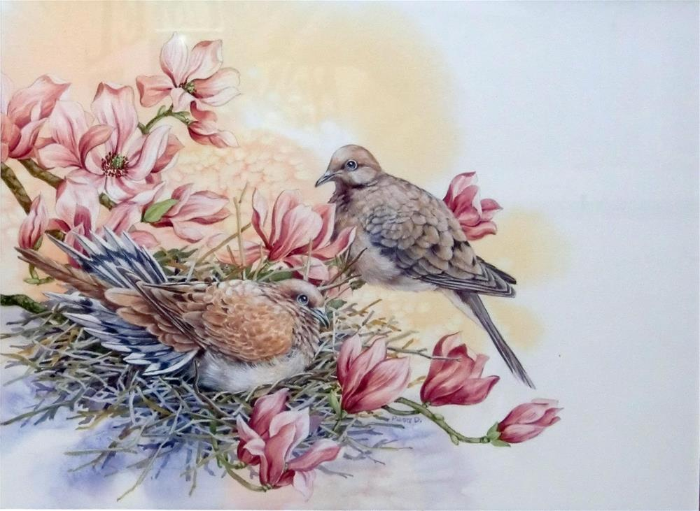 """Mourning Doves, framed"" original fine art by Jean Pierre DeBernay"