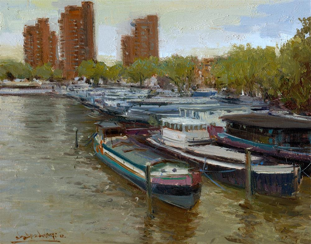 """The Chelsea Riverside from Battersea Bridge"" original fine art by Adebanji Alade"