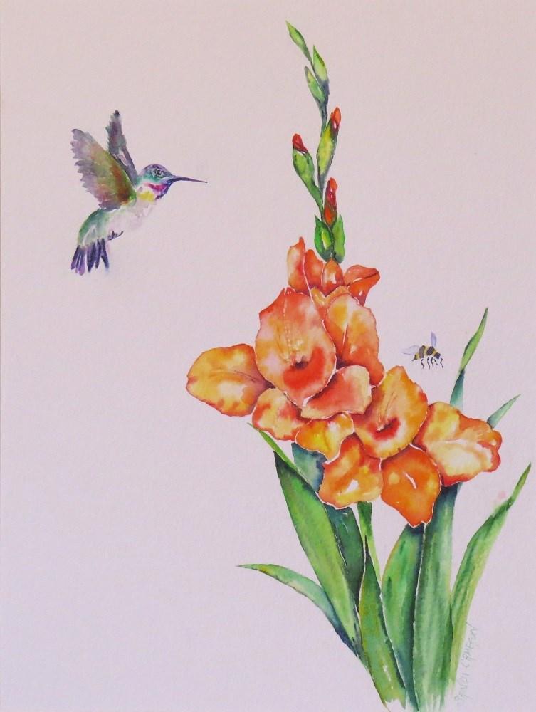 """Hummer & Glads"" original fine art by Sandra Cameron"