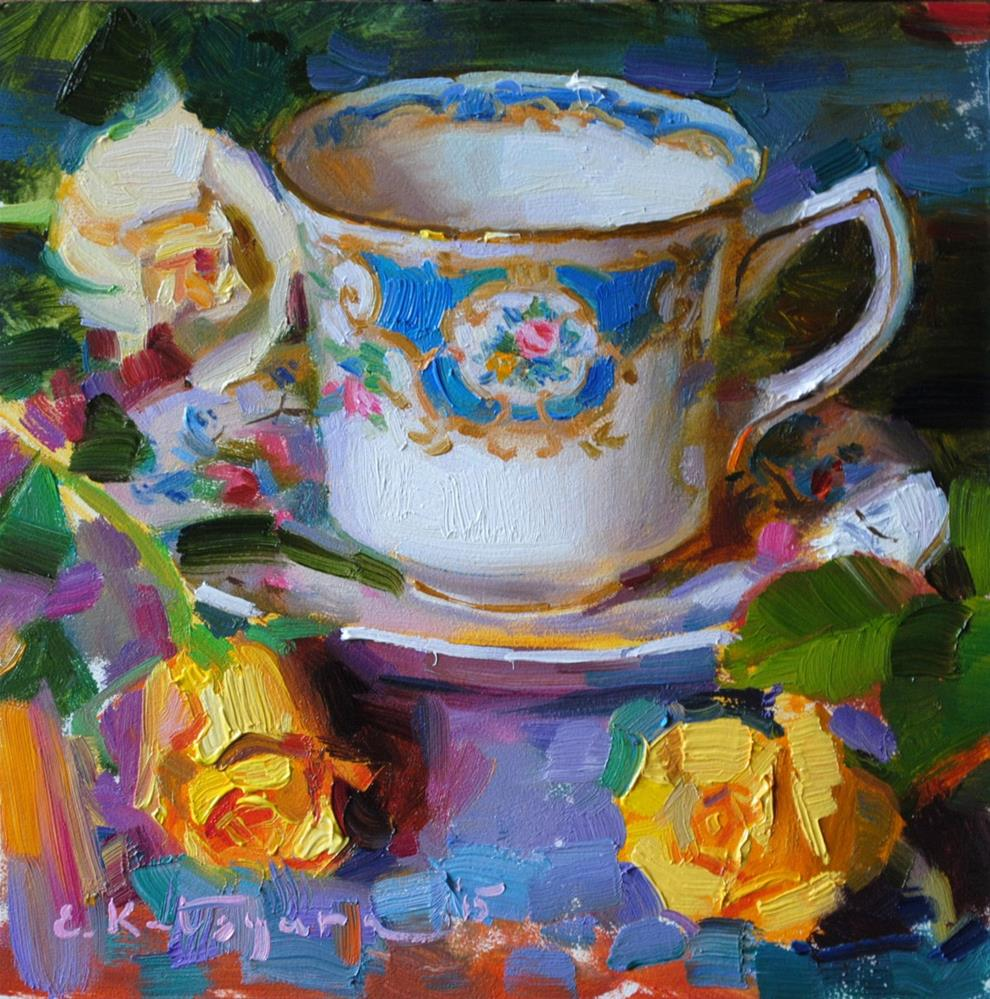 """Teacup and Yellow Roses"" original fine art by Elena Katsyura"