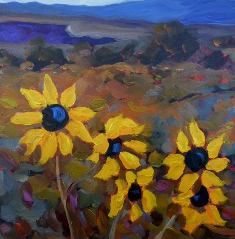 """28 FALL SUNS AT THE RIO GRANDE GORGE"" original fine art by Dee Sanchez"