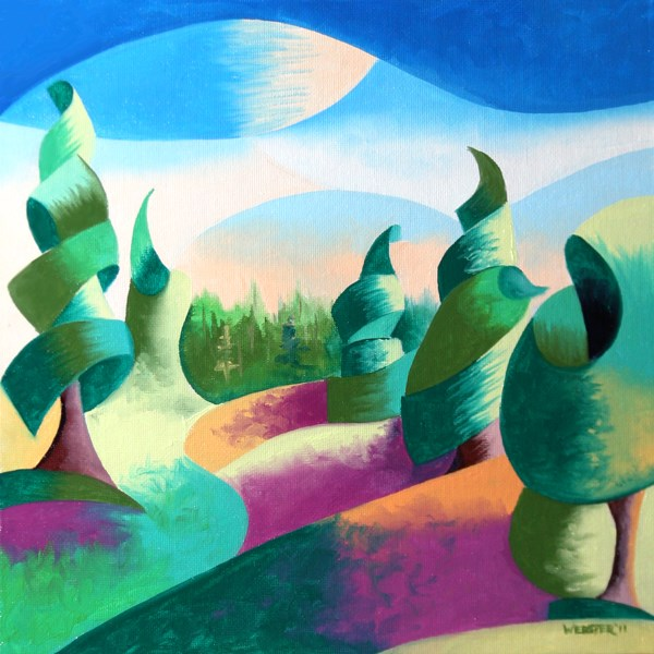 """Mark Webster - Abstract Geometric Alaska Landscape Painting - Virtual Paintout"" original fine art by Mark Webster"