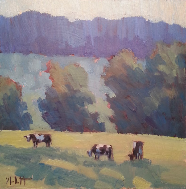 """Happy Holstein Cows Contemporary Landscape Painting"" original fine art by Heidi Malott"