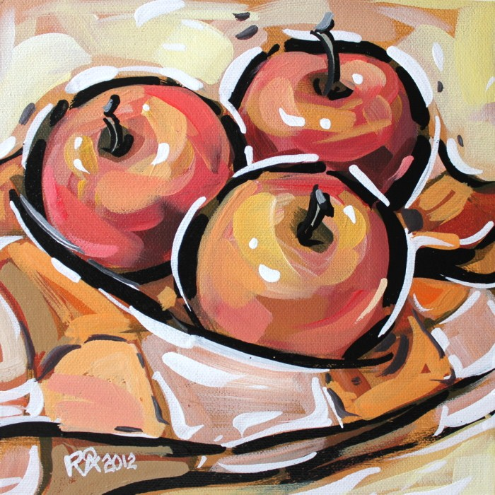 """Apple abstraction 6"" original fine art by Roger Akesson"