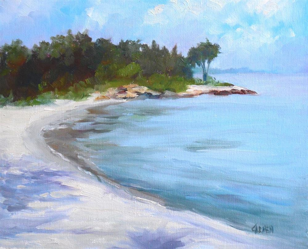 """Castaway, 8x10 Original Oil on Canvas Panel Beach Painting"" original fine art by Carmen Beecher"