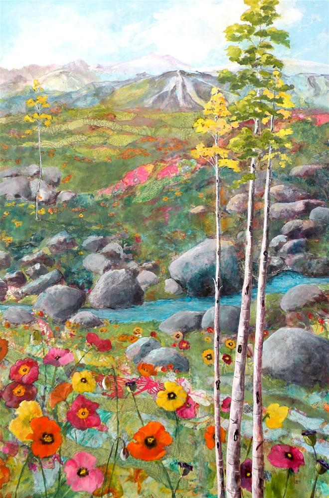 """MOUNTAIN POPPIES ORIGINAL MIXED MEDIA ON CRADLED PANEL © SAUNDRA LANE GALLOWAY"" original fine art by Saundra Lane Galloway"