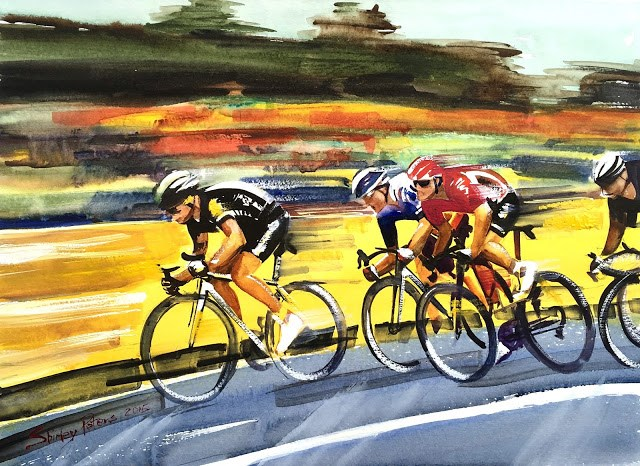 """Racing Le Tour"" original fine art by Shirley Peters"