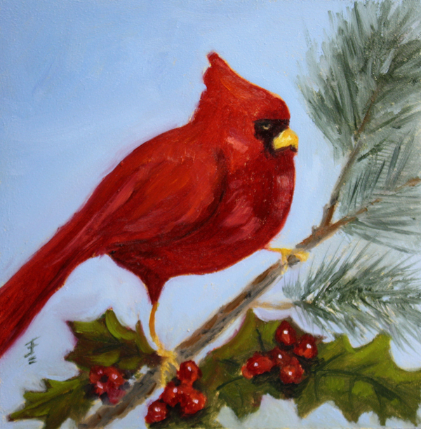 """Christmas Cardinal"" original fine art by Jane Frederick"