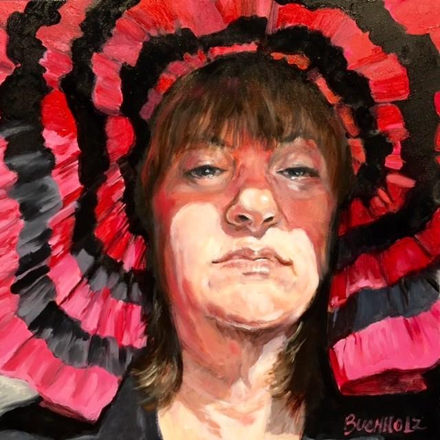 """""""Selfie in a Pink Hat"""" original fine art by Terri Buchholz"""