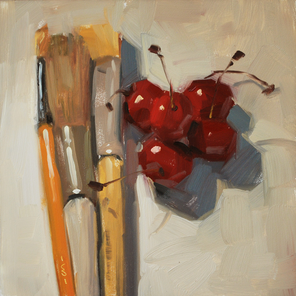 """Painting Cherries"" original fine art by Carol Marine"