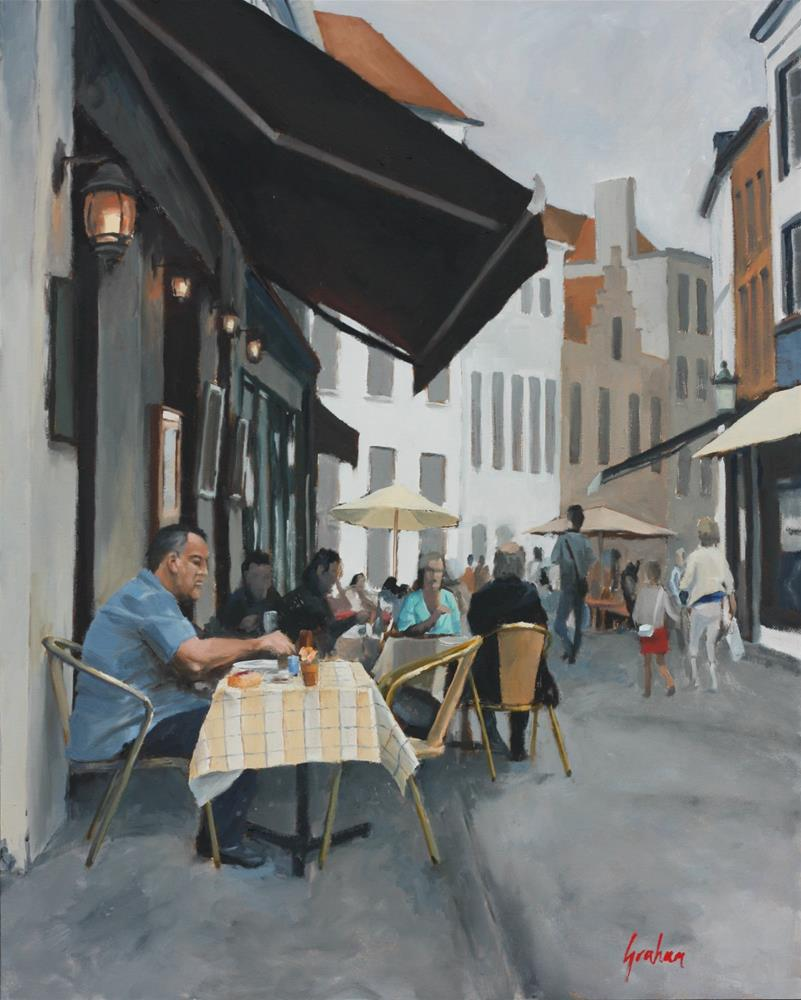 """""""Lunch for one, Bruge."""" original fine art by Graham Townsend"""