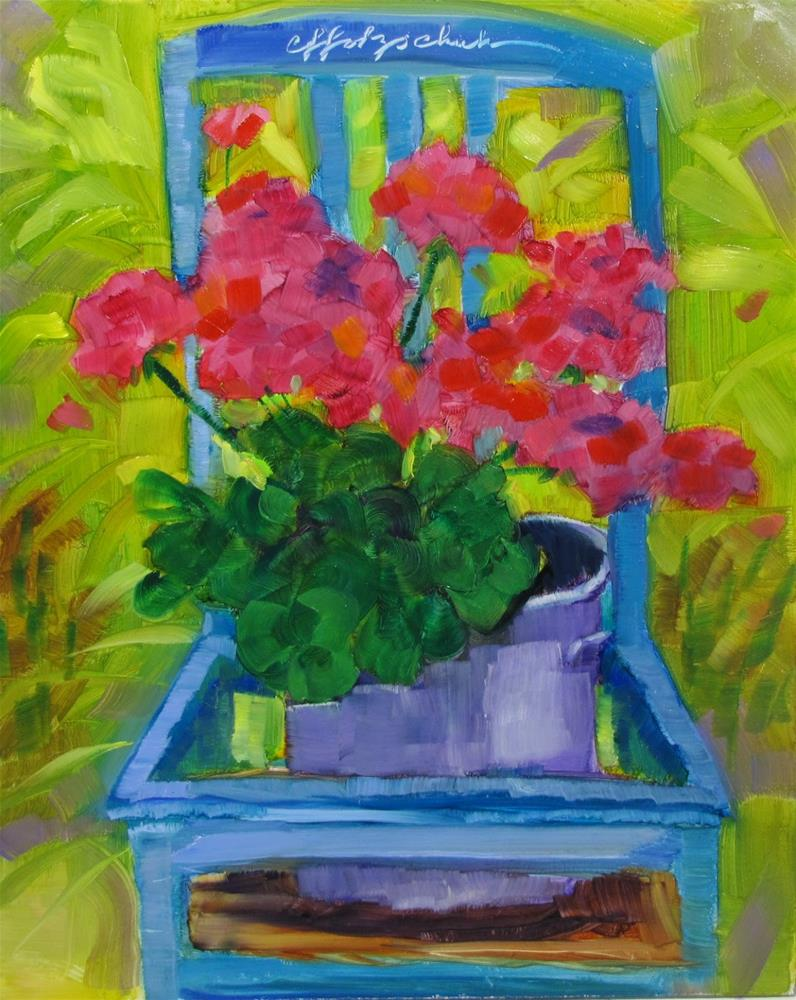 """Blue Chair"" original fine art by Christine Holzschuh"
